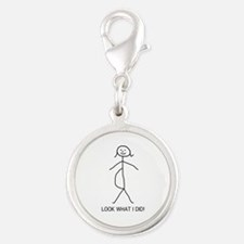 pregnant stick figure.png Silver Round Charm