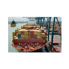 Container ship and port - Rectangle Magnet