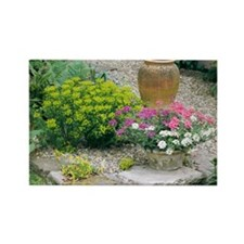 Garden flowers and plant pot - Rectangle Magnet