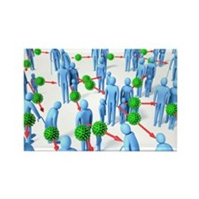 Pandemic virus, artwork - Rectangle Magnet