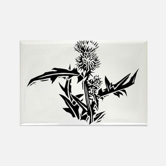 Thistle, lino print - Rectangle Magnet