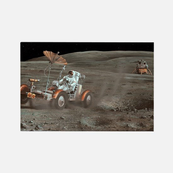 Apollo 16 lunar rover, artwork - Rectangle Magnet