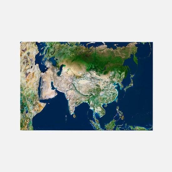 Asia, satellite image - Rectangle Magnet