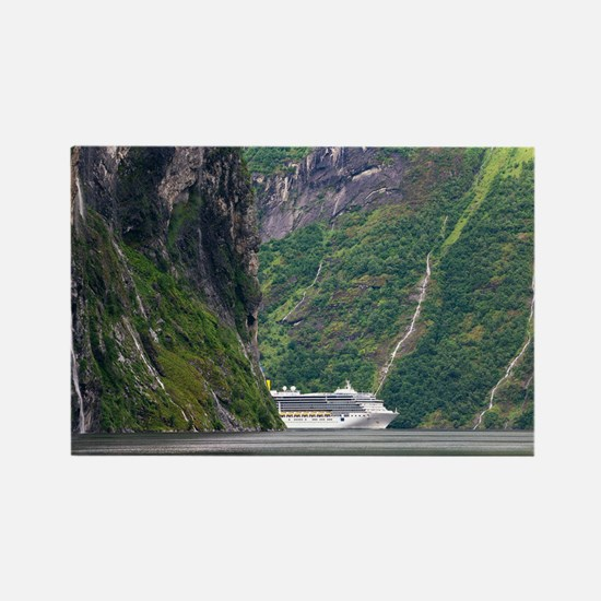 Cruise ship in a fjord, Norway - Rectangle Magnet