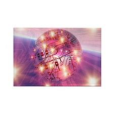 Electronic world, artwork - Rectangle Magnet