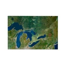 Great Lakes, satellite image - Rectangle Magnet