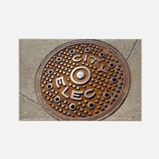 Manhole cover in Chicago - Rectangle Magnet