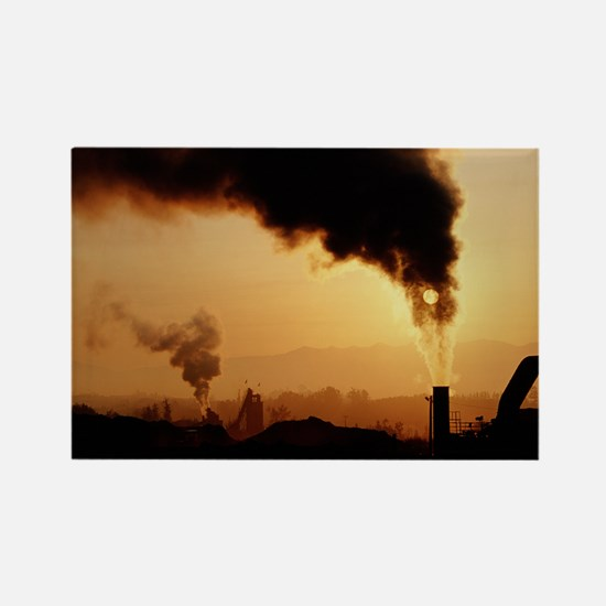 Smoke plume from asphalt plant - Rectangle Magnet