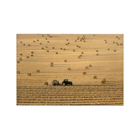 Tractor harvesting straw - Rectangle Magnet