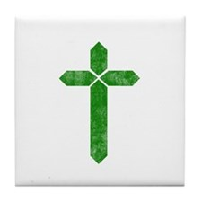 Pretty green christian cross 1 U S Tile Coaster