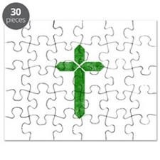 Pretty green christian cross 1 U S Puzzle