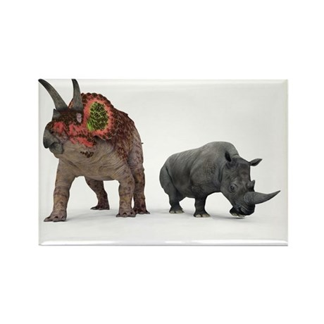Triceratops dinosaur and rhino - Rectangle Magnet