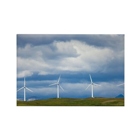 Wind turbines at Pincher Creek - Rectangle Magnet
