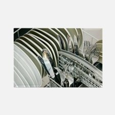 Clean utensils in a dishwasher - Rectangle Magnet