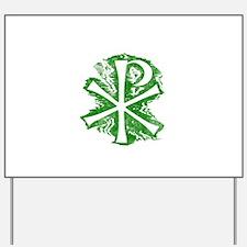 Pretty green christian cross 2 L e Yard Sign