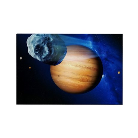Asteroid passing Jupiter - Rectangle Magnet by sciencephotos