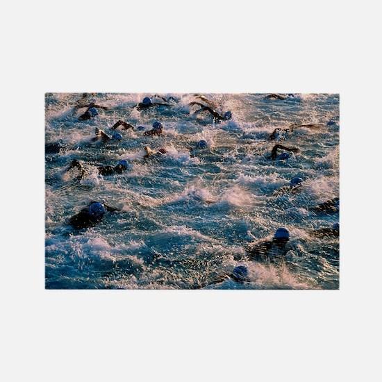 Triathlon swimmers - Rectangle Magnet