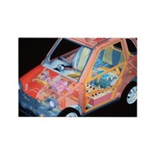 Electric car, artwork - Rectangle Magnet