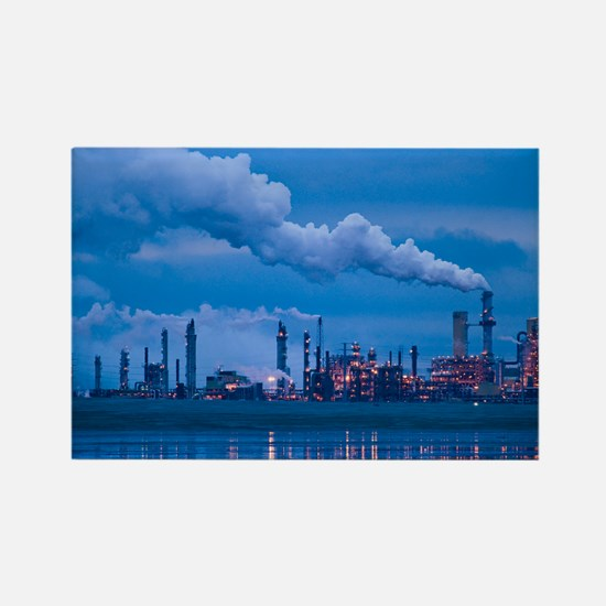 Oil refinery at dusk - Rectangle Magnet