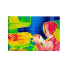Playing video game, thermogram - Rectangle Magnet