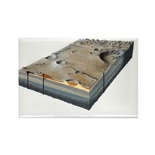 Moon surface features, artwork - Rectangle Magnet