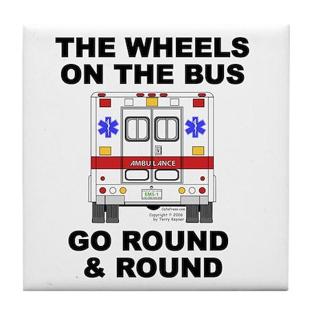 Ambulance Wheels Go Round Tile Coaster