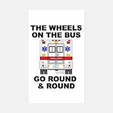 Ambulance Wheels Go Round Rectangle Decal