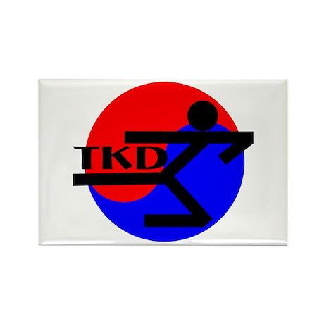 TKD Flying Side Kick Rectangle Magnet (100 pack)