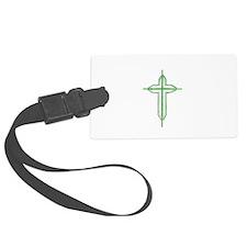 Pretty green christian cross 2 U P Luggage Tag