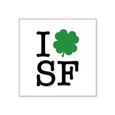 "I Shamrock SF Square Sticker 3"" x 3"""