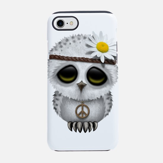 Cute Baby Snowy Owl Hippie iPhone 7 Tough Case