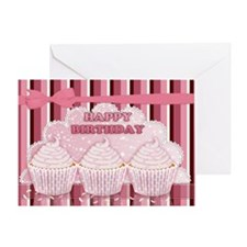 Cupcake Birthday Cake In Pink Greeting Card