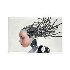 Female cyborg, artwork - Rectangle Magnet (10 pk)