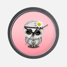 Cute Baby Snowy Owl Hippie Wall Clock