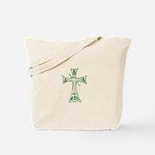 Pretty green christian cross 4 L v Tote Bag