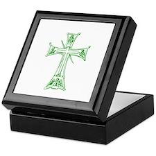 Pretty green christian cross 4 L v Keepsake Box