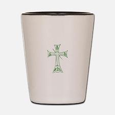 Pretty green christian cross 4 L v Shot Glass