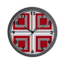 Red and grey 3-D crazy square/Wall Clock