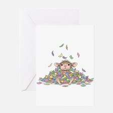 Raining Confetti Greeting Card