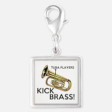 Tuba Players Kick Brass Silver Square Charm