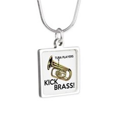 Tuba Players Kick Brass Silver Square Necklace