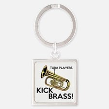 Tuba Players Kick Brass Square Keychain