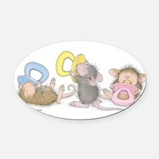 Mice Babies Oval Car Magnet