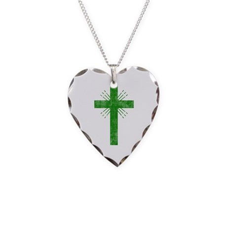 Pretty green christian cross 4 U P Necklace