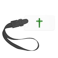 Pretty green christian cross 4 U P Luggage Tag
