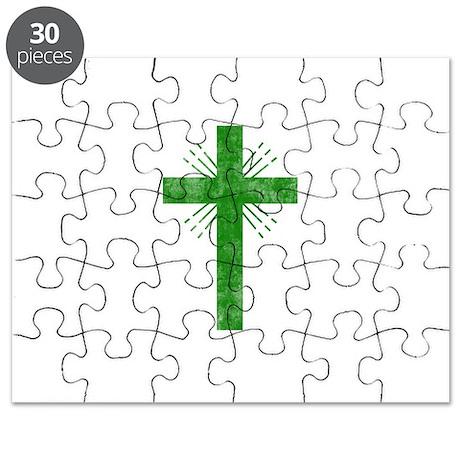 Pretty green christian cross 4 U P Puzzle