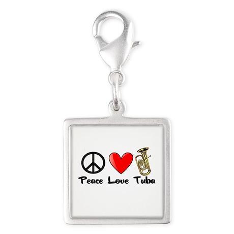 Peace, Love, Tuba Silver Square Charm