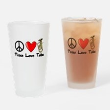 Peace, Love, Tuba Drinking Glass