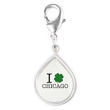I Shamrock Chicago Silver Teardrop Charm