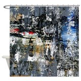 Abstract black blue Shower Curtains